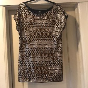 H&M Mini Dress Black w/Gold Sequins